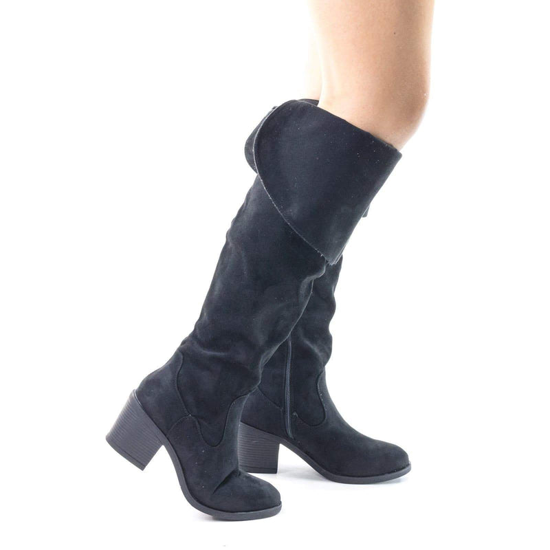 Louie03 Faux Suede Thigh High Over Knee Boots w Block Heel & Foldable Flap