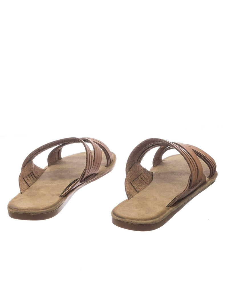 Made47 TanBnh Comfort Slides Foam Padded Slide In Slipper w Strappy Cage & Vintage Stain