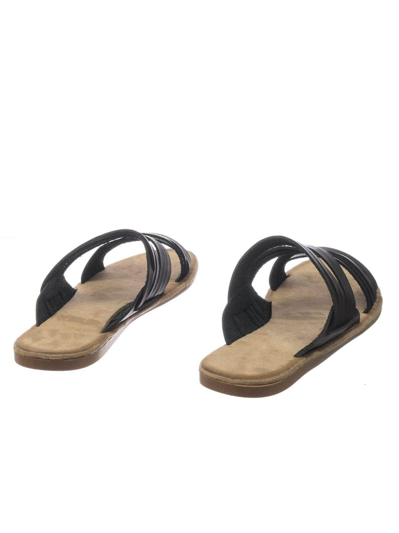 Made47 BlkBnh Comfort Slides Foam Padded Slide In Slipper w Strappy Cage & Vintage Stain
