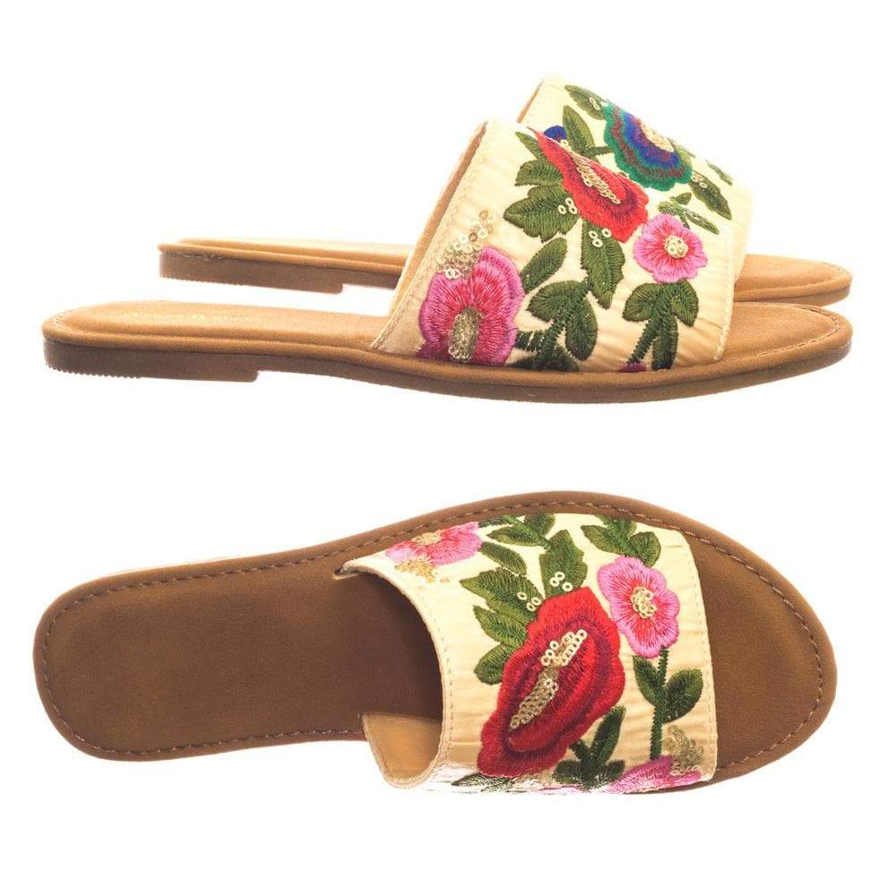 Maintain36 RedFab Wide Band Flat Slipper Slide Sandal w Stitched Floral Embrodery