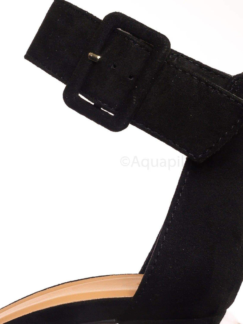 Black Pu / Mania16 BlkFs Classic Chunky Block High Heel Sandal - Women Ankle Strap Open Toe Shoe