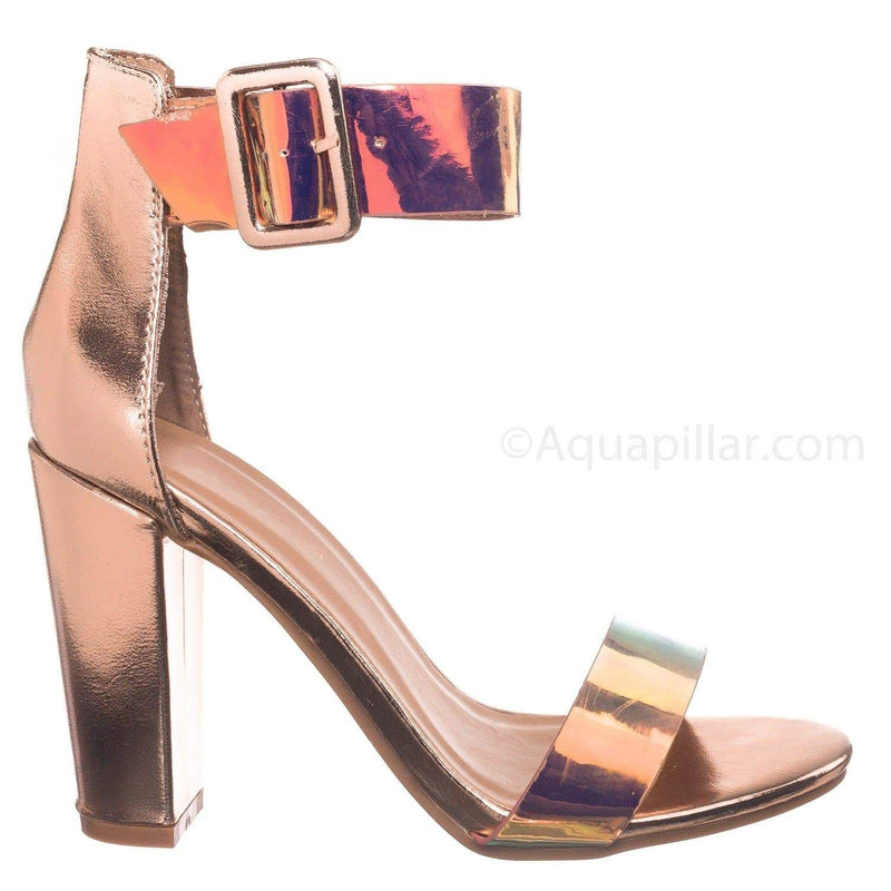Unicorn Hologram Gold / Mania16 UniPu Classic Chunky Block High Heel Sandal - Women Ankle Strap Open Toe Shoe