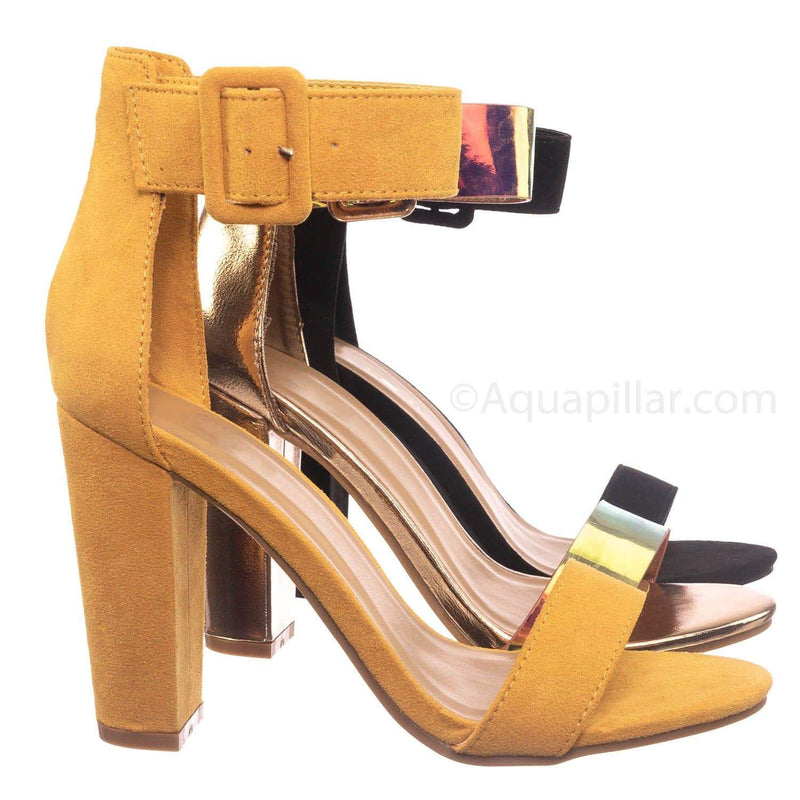 Marigold Yellow / Mania16 MgdFs Classic Chunky Block High Heel Sandal - Women Ankle Strap Open Toe Shoe