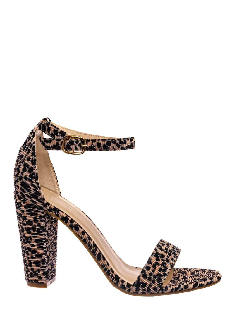 Cheetah Ruffle / Mania22 Retro Chunky Block High Heel Sandal, Women Open Toe Ankle Strap Shoes
