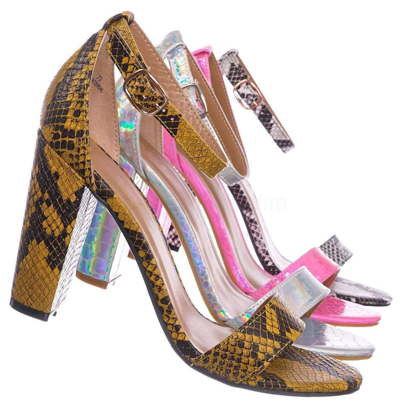 Marigold Yellow Snake / Mania22 Retro Chunky Block High Heel Sandal, Women Open Toe Ankle Strap Shoes