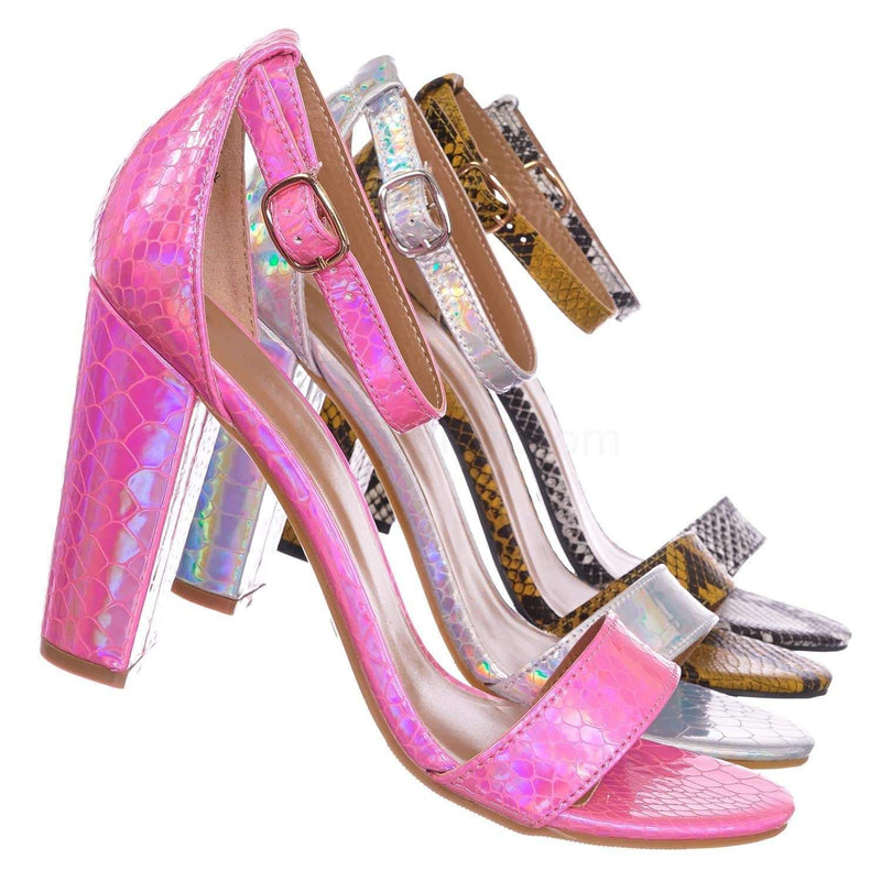 Hot Pink Snake / Mania22 Retro Chunky Block High Heel Sandal, Women Open Toe Ankle Strap Shoes