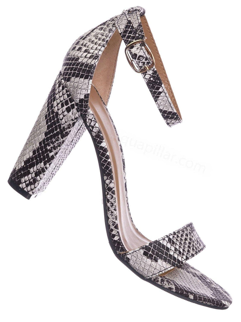 Black Snake / Mania22 Retro Chunky Block High Heel Sandal, Women Open Toe Ankle Strap Shoes