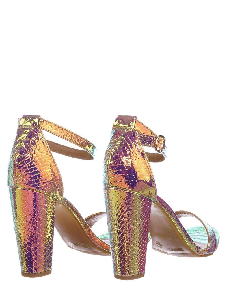 Iridescent Snake / Mania22 Retro Chunky Block High Heel Sandal, Women Open Toe Ankle Strap Shoes