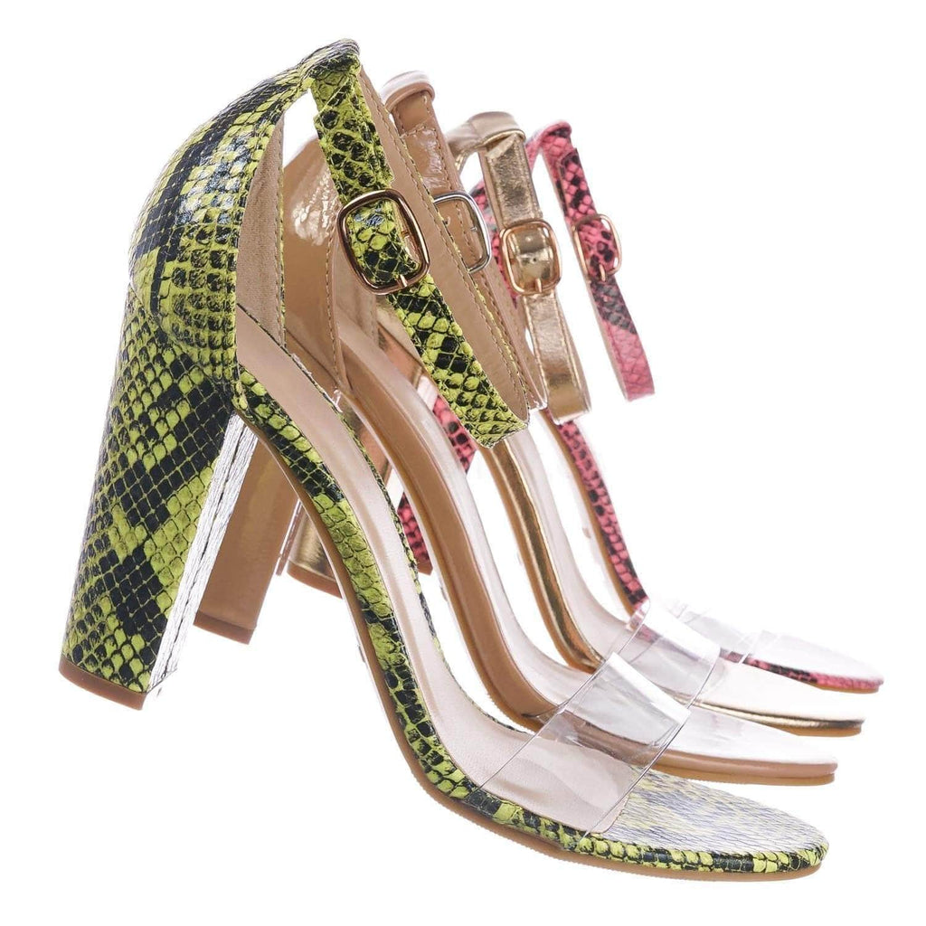 Mania30 NYlwSnk Chunky Block Heel Sandal w Clear Strap - Women Lucite Transparent