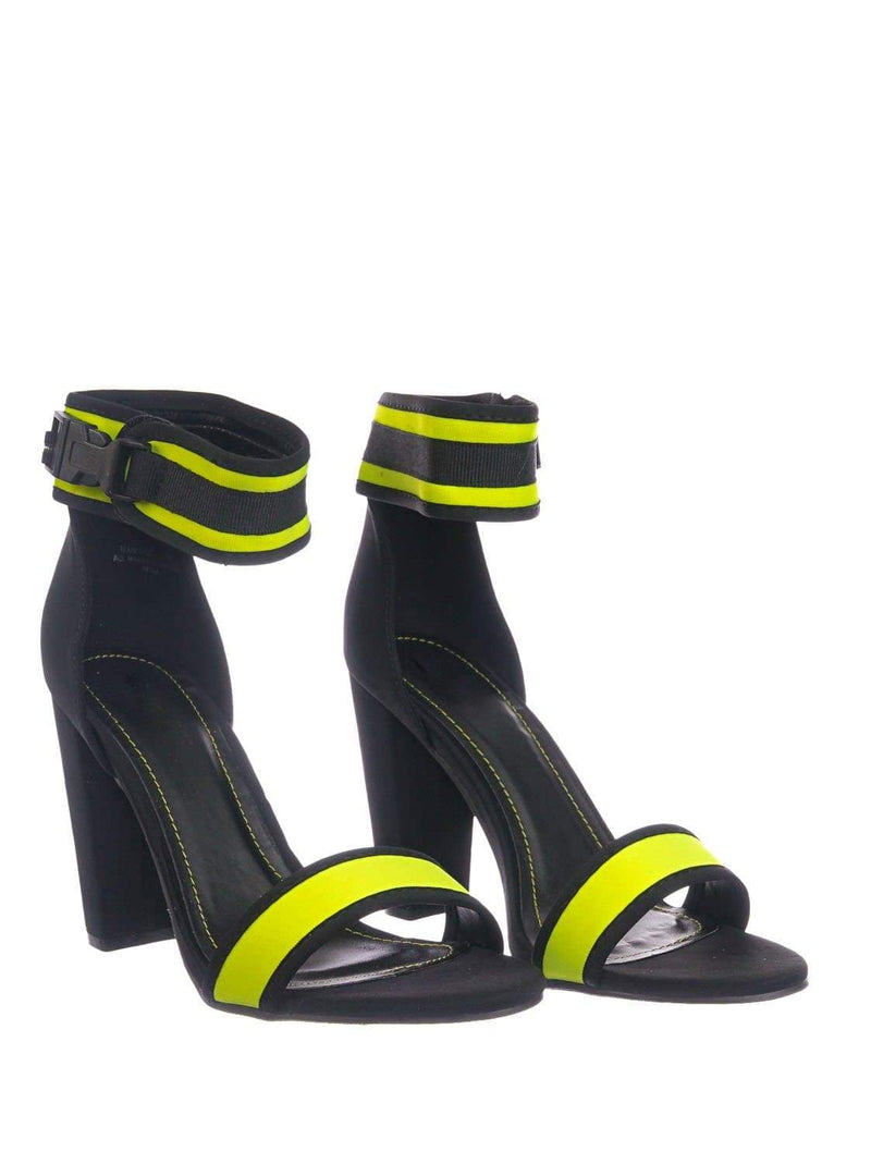 Neon Yellow / Mania36 NYlwLyc Sporty Blocky High Heel Dress Sandal - Retro Neon Snap On Ankle Strap
