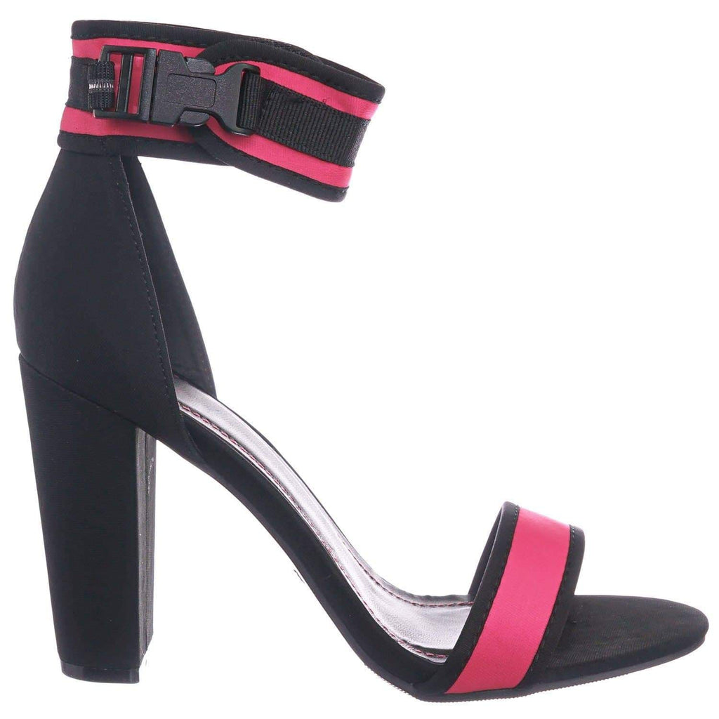 Neon Pink / Mania36 NPnkLyc Sporty Blocky High Heel Dress Sandal - Retro Neon Snap On Ankle Strap
