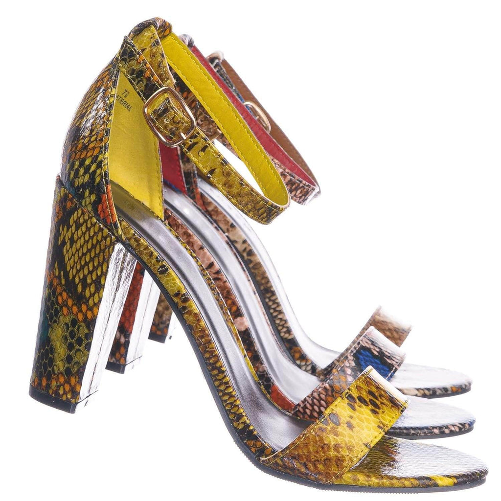 Yellow Snake / Mania38 YelSnk Block Heel Snake Print Dress Sandal - 2 Piece Ankle Strap Open Toe Shoe
