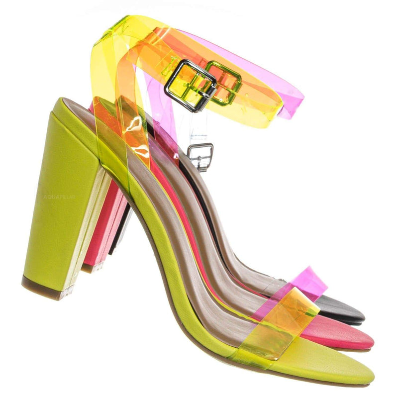 Neon Yellow / Mania41 Neon Clear Block High Heel Sandal - Lucite Transparent Open Toe Shoes