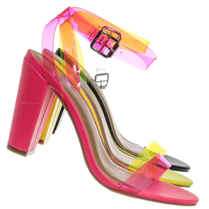 Neon Pink / Mania41 Neon Clear Block High Heel Sandal - Lucite Transparent Open Toe Shoes