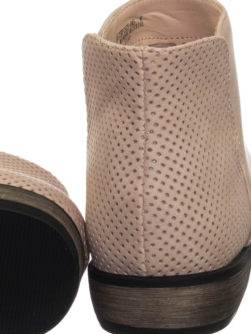 Masterpiece04 Blush Vintage Perforated Block Heel Ankle Bootie w Side Slit Cutout