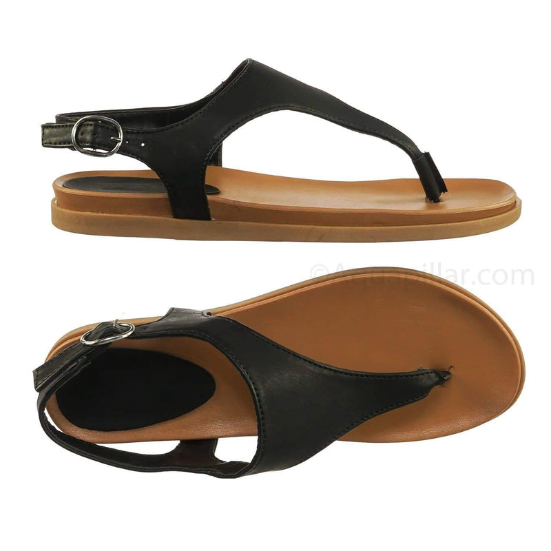 Mission67 BlkBnh Vintage Rubber Thong Sandal - Womens Triangle T-Strap Ankle Buckle