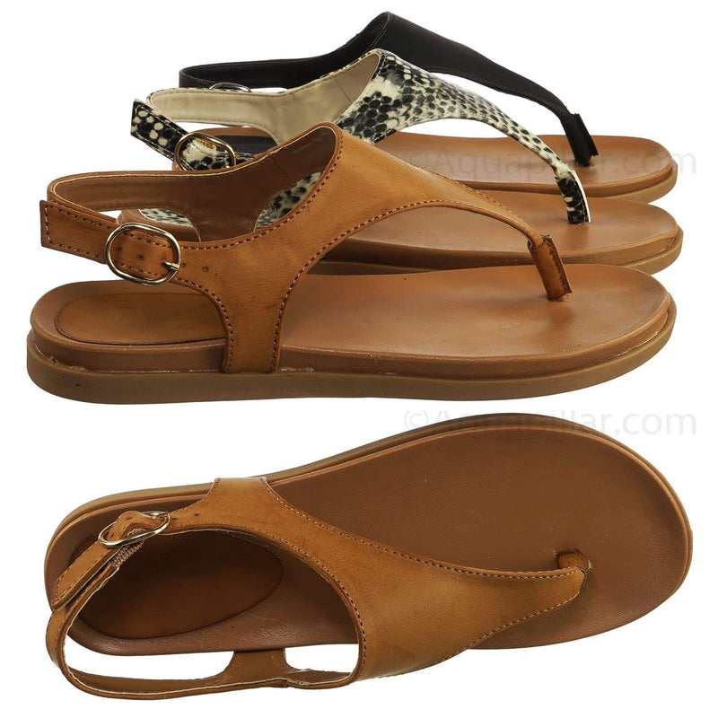 Mission67 TanBnh Vintage Rubber Thong Sandal - Womens Triangle T-Strap Ankle Buckle
