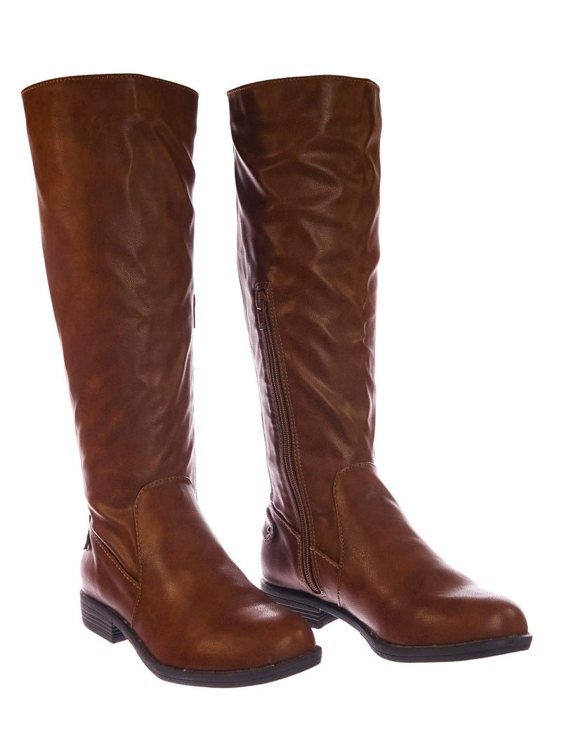 Montage77 ChnCrp Knee High Riding Boots w Faux Fur Inner Lining & Stretch Elastic