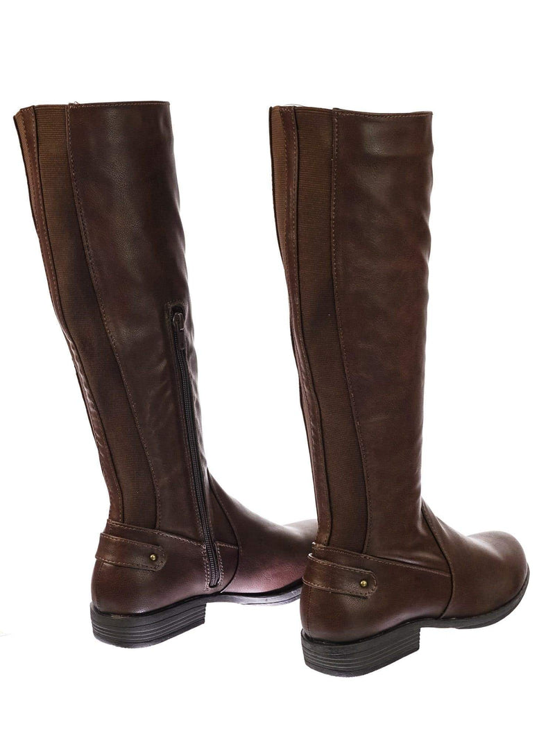 Montage77 BrnCrp Knee High Riding Boots w Faux Fur Inner Lining & Stretch Elastic