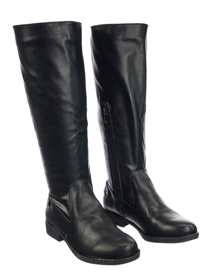 Montage77 BlkCrp Knee High Riding Boots w Faux Fur Inner Lining & Stretch Elastic