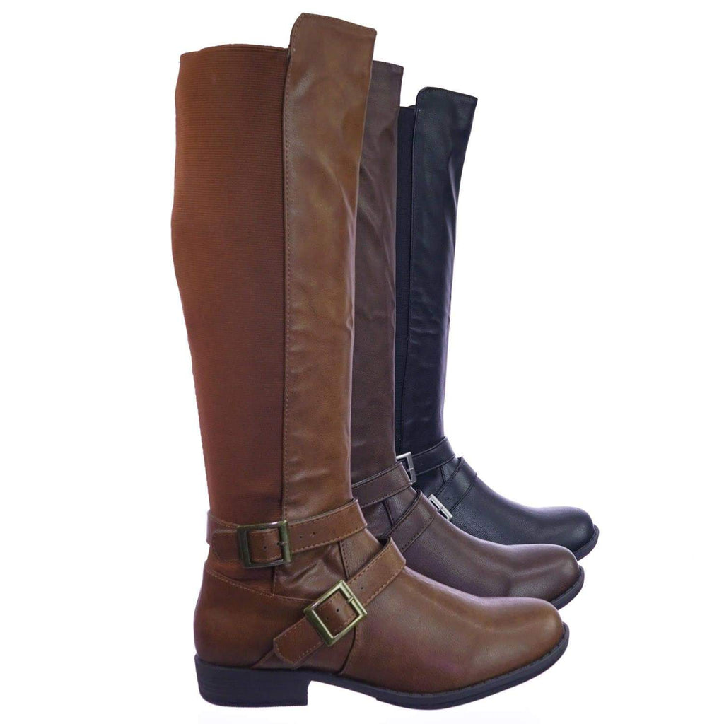 Montana75 ChnCrp Fur Lined Fashion Equestrian Riding Boots w Elastic Panel Belt Harness