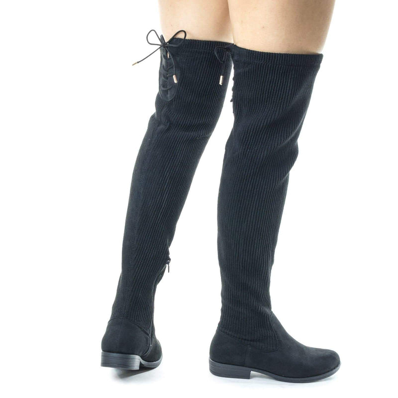 Montana79 Stretchy Knee High Sweater Boots w Rear Corset Lace up Closure