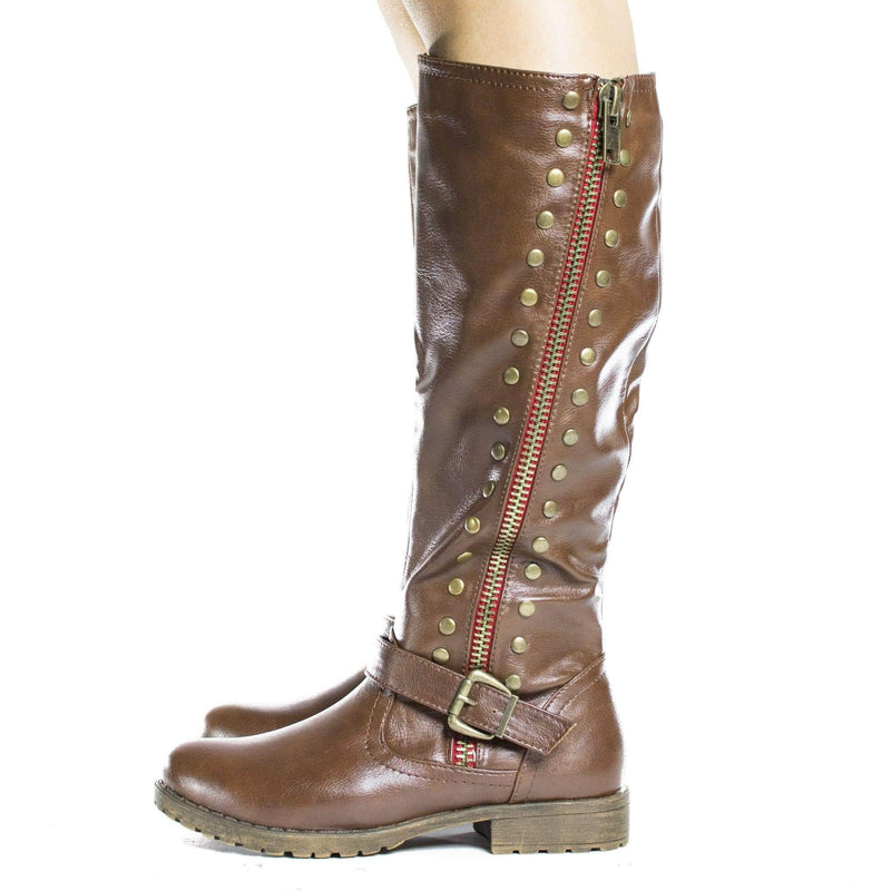 Monterey01 By Bamboo, Knee High Studded Motto Faux Wooden Heel Riding Boots