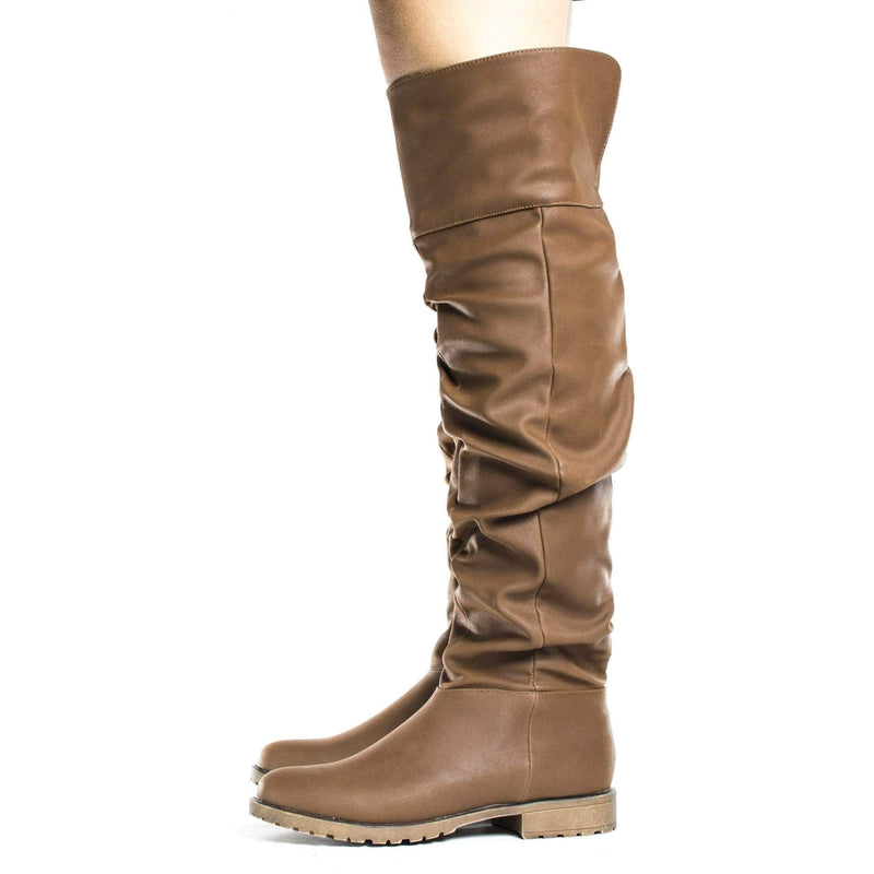 Monterey06 Chestnut By Bamboo, Over Knee Slouchy Round Toe Riding Boots