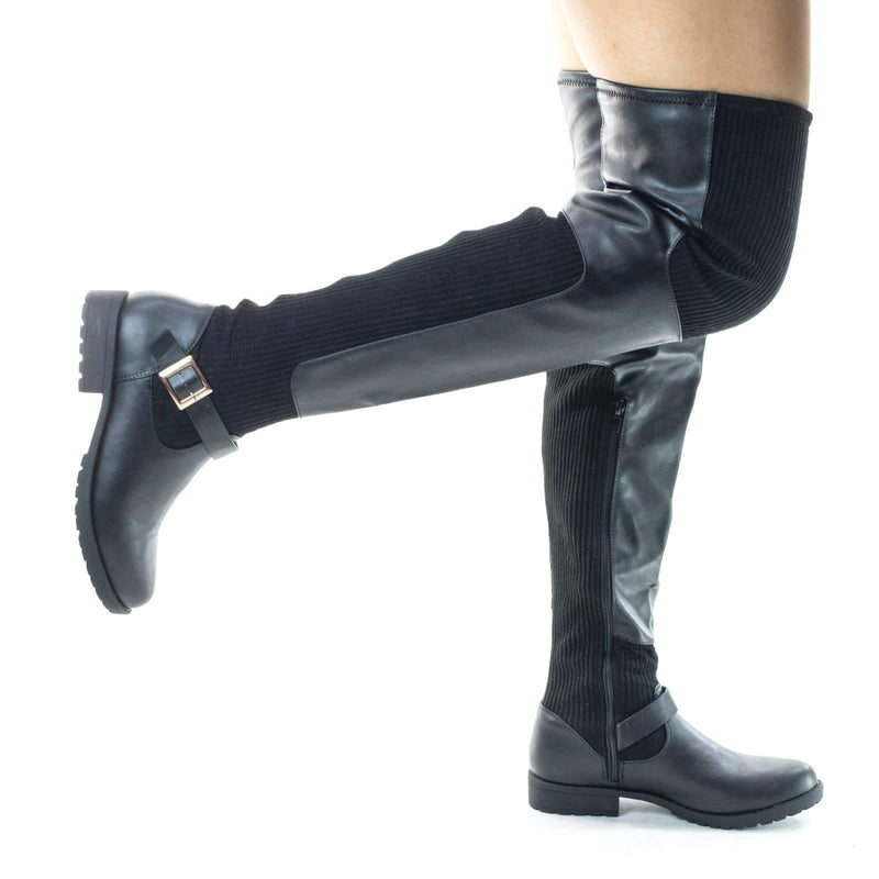 Monterey54 Over Knee Sneaker Riding / Biker Boots. Threaded Lug Sole
