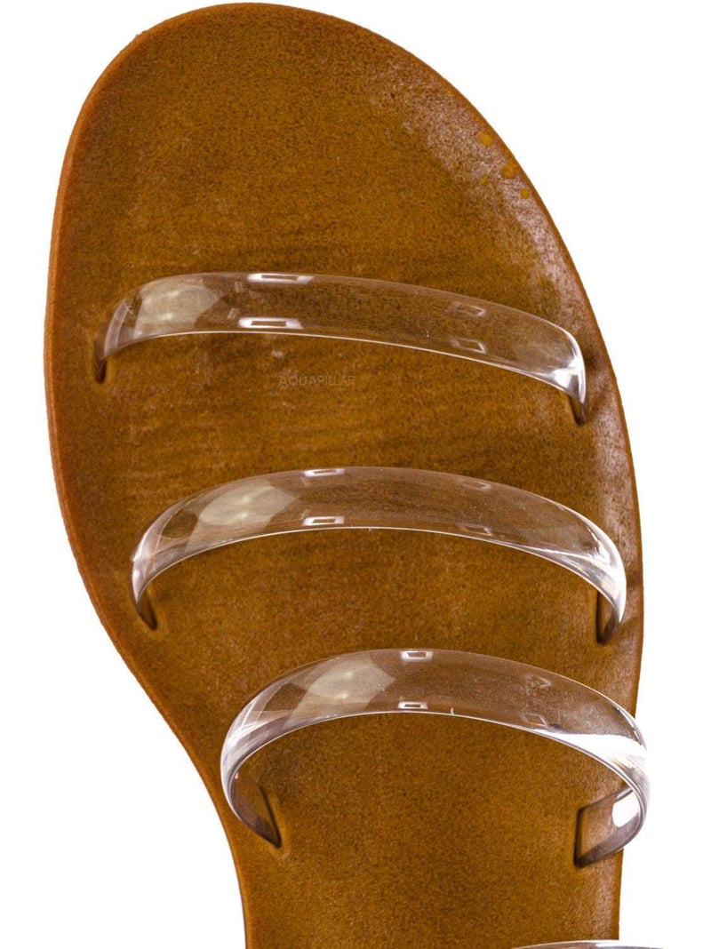 Clear Lucite / Moondance45 Multi Parallel Lucite Jelly Strap Slipper - Clear Thin Flat Sandal