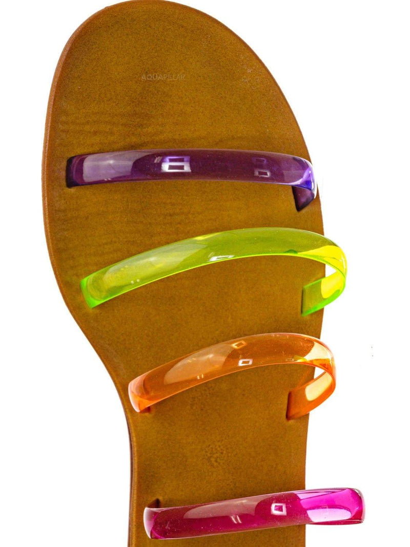 Rainbow Multi / Moondance45 Multi Parallel Lucite Jelly Strap Slipper - Clear Thin Flat Sandal