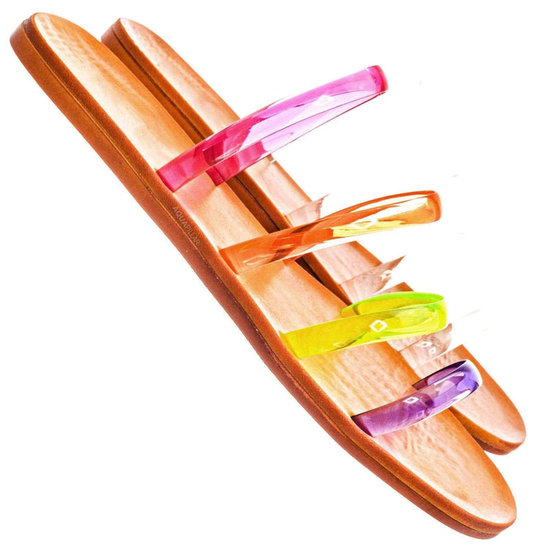 Moondance45 Multi Parallel Lucite Jelly Strap Slipper - Clear Thin Flat Sandal