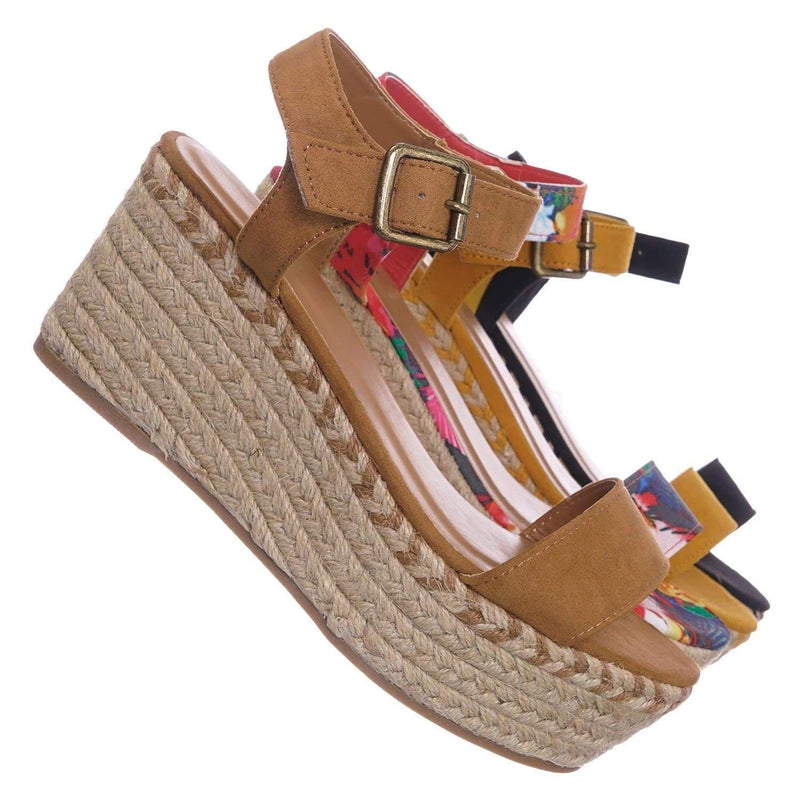 Tan Beige / Motion02 TanFs Espadrile Platform Wedge Sandal - Women Jute Braided Flatform Open Toe