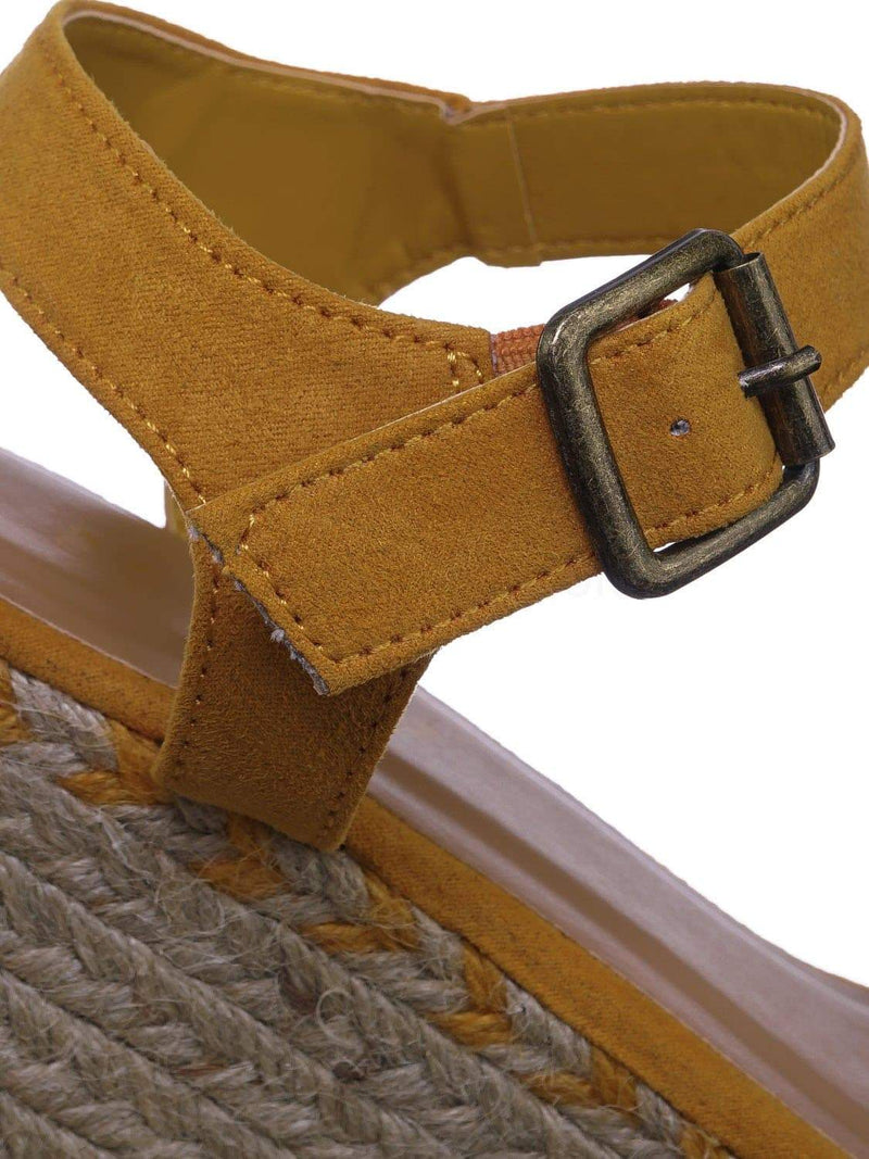 Marigold Yellow / Motion02 MgdFs Espadrile Platform Wedge Sandal - Women Jute Braided Flatform Open Toe