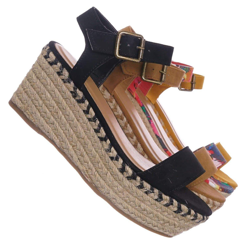 Black Pu / Motion02 BlkFs Espadrile Platform Wedge Sandal - Women Jute Braided Flatform Open Toe