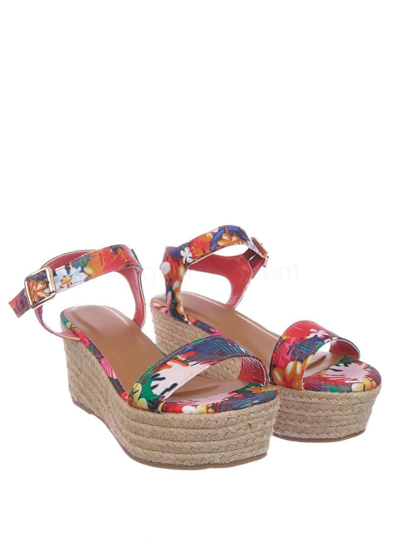 Fuchsia Pink Multi / Motion02 FusMul Espadrile Platform Wedge Sandal - Women Jute Braided Flatform Open Toe