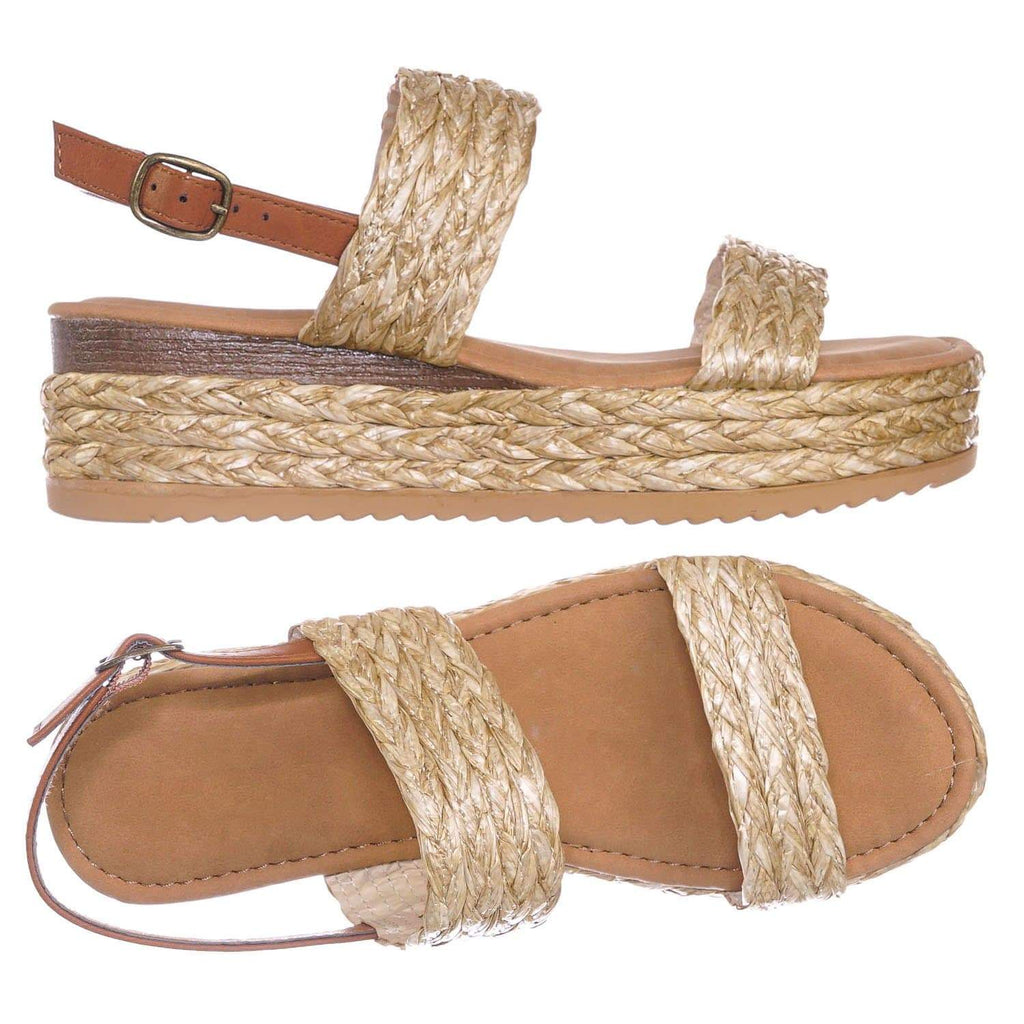 Natural Beige / Motivate18 NatEsp Raffia Espadrille Flatform Sandal - Women Woven Braided Open Toe Shoe