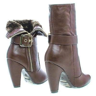 Mozza14 Brown By Bamboo, Almond Toe Foldable Cuff Fur Lined Zip Up Boots