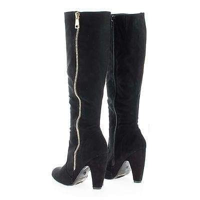 Mozza24 Black Pu By Bamboo, Classic Knee High Zip Up Chunky Heel Boots