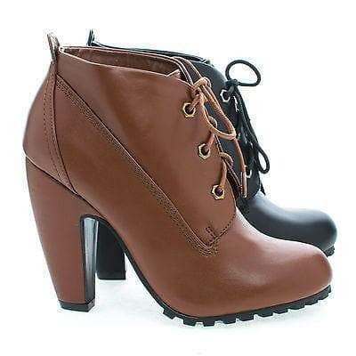 Mozza27L Chestnut By Bamboo, Round Toe Classic Lace Up Lug Sole Platform Ankle Bootie
