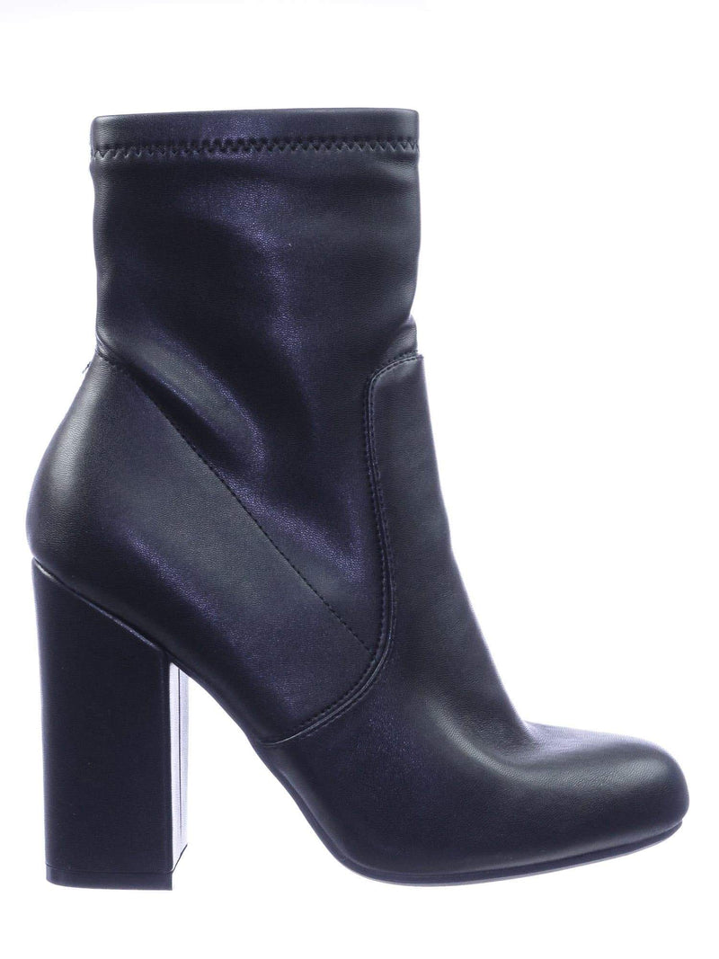 Namaste07 StripePu High Block Heel Dress Ankle Bootie
