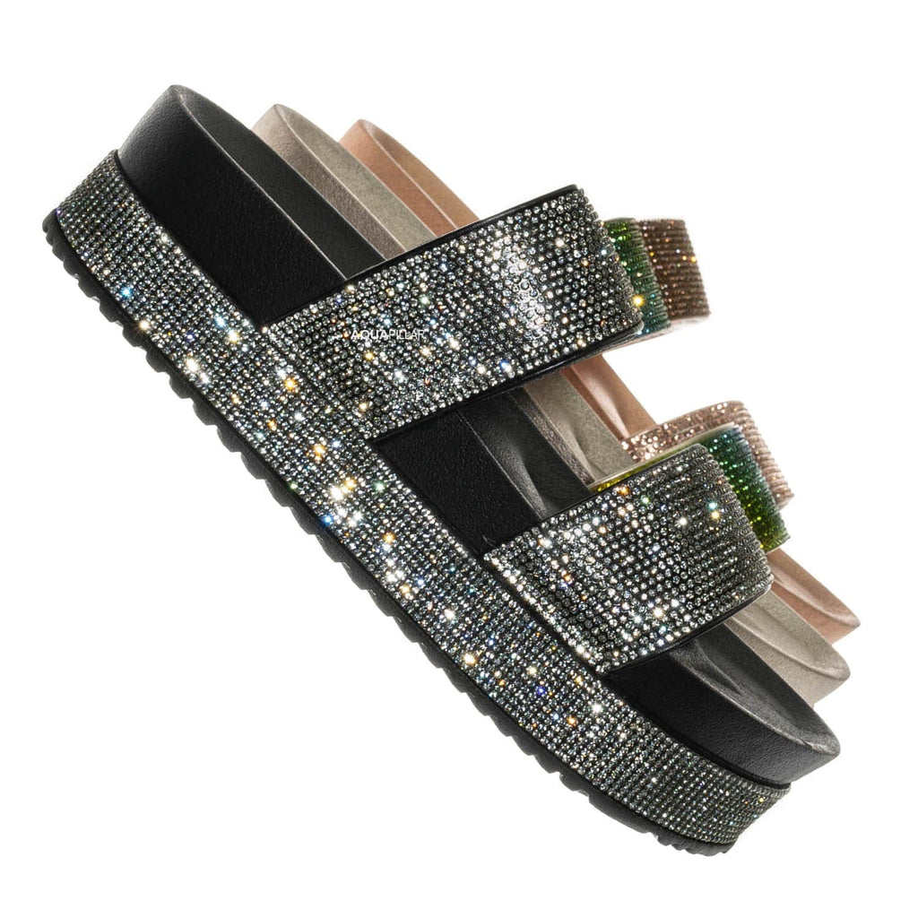 Black / Nighttime01 Rhinestone Flatform Slides - Rainbow Molded Footbed Crystal Sandal
