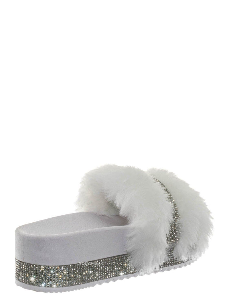 White / Nighttime02 Faux Fur Rhinestone Flatform Slides - Molded Footbed Crystal Sandal