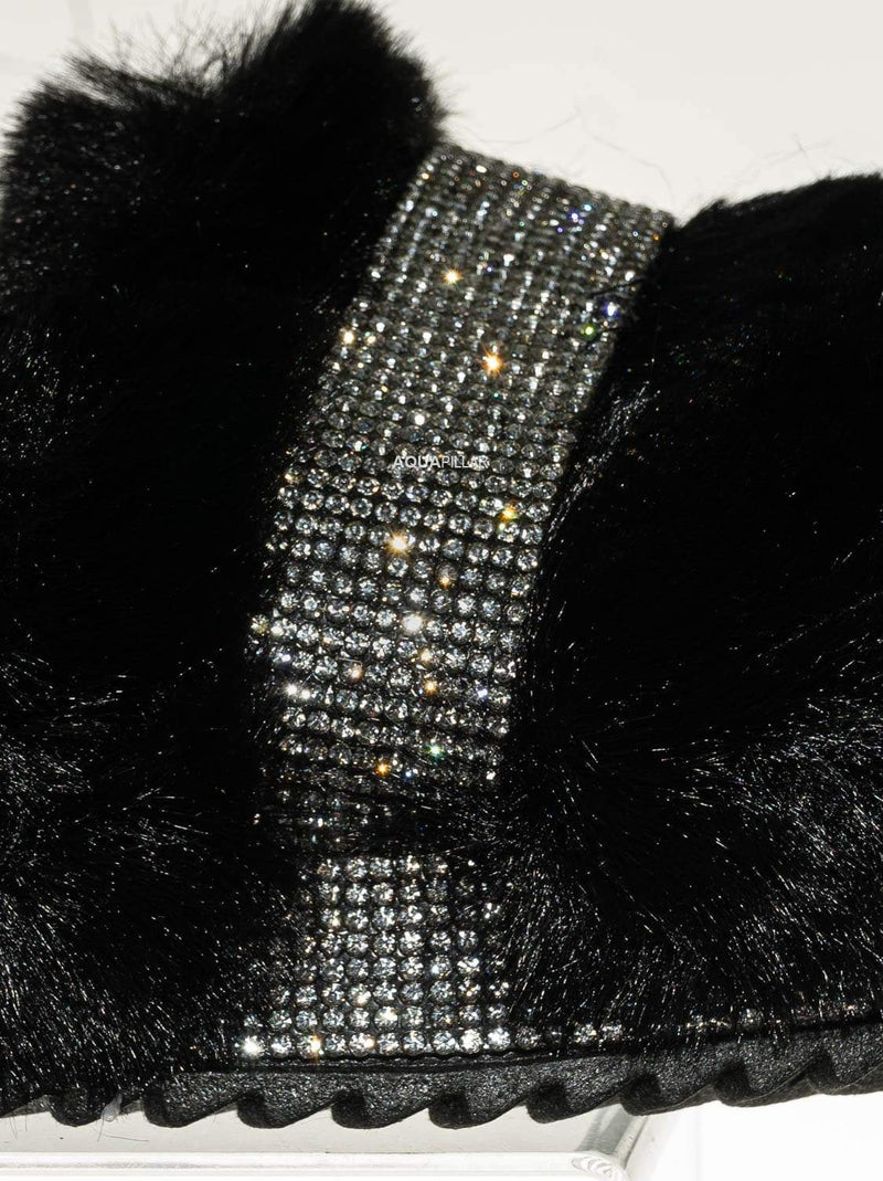 Black / Nighttime02 Faux Fur Rhinestone Flatform Slides - Molded Footbed Crystal Sandal