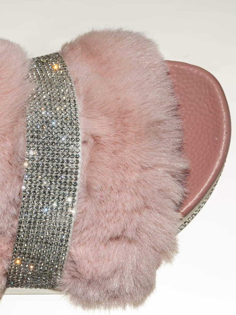 Blush Pink / Nighttime02 Faux Fur Rhinestone Flatform Slides - Molded Footbed Crystal Sandal