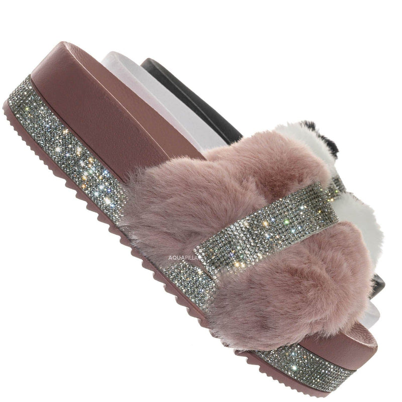Nighttime02 Faux Fur Rhinestone Flatform Slides - Molded Footbed Crystal Sandal