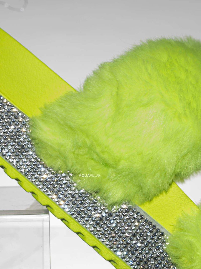 Neon Yellow Fur / Nighttime03 Furry Rhinestone Flatform - Flat Platform Molded Footbed Slipper