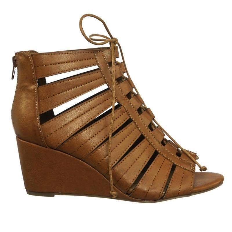 Oakland14 TanBnh Gladiator Lace Up Ghillie Peep Toe Wedge Heel Sandal