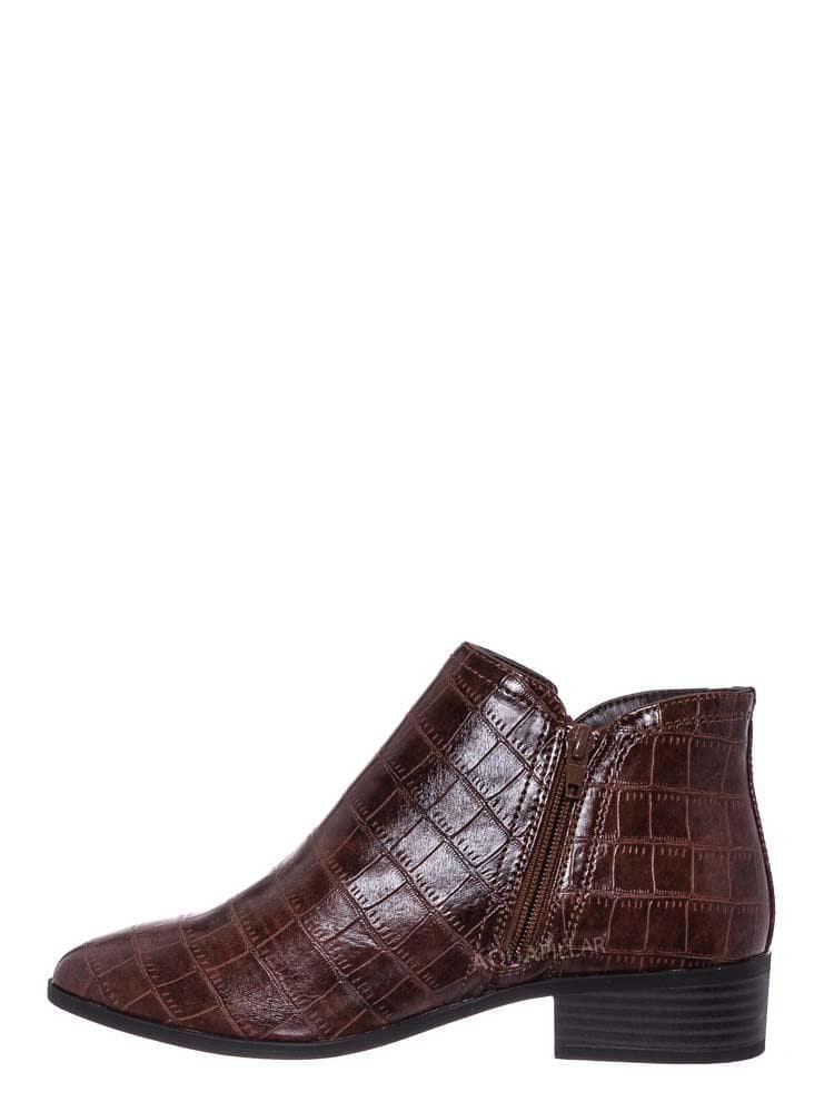 Brown Croc / Occasion01 Croc Print Ankle Chelsea Bootie