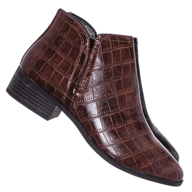 Occasion01 Croc Print Ankle Chelsea Bootie